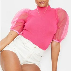 PRETTY LITTLE THING - Hot Pink Organza Puff Sleeve Knitted Top